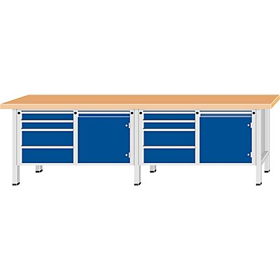 ANKE Werkbank, extrabreit, 2 Türen, 8 Schubladen mit Vollauszug, Höhe 890 mm