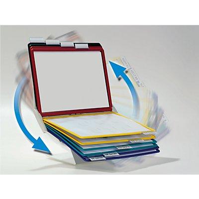 Tisch- und Wandhalter, Komplett-Set - 10 Klarsichttafeln DIN A4 farbig sortiert - inklusive Aufsteckreiter