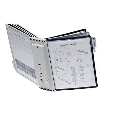 Durable Wandhalter SHERPA - Komplettset, inklusive Halter, 10 Sichttafeln DIN A4 - je 5 Stück grau und schwarz, 10 Aufsteckreiter 58 mm