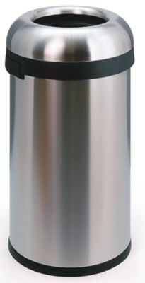 Edelstahl-Abfallsammler - OPEN TOP, große Einwurföffnung, Volumen 60 l - Höhe 760 mm, Ø 400 mm