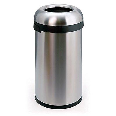 Collecteur de déchets en inox - OPEN TOP, grande ouverture, capacité 60 l - hauteur 760 mm, Ø 400 mm