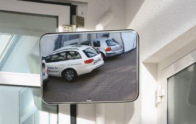 EUROKRAFT Universal-Spiegel für innen und außen - rechteckig, Halterung zur Pfostenmontage