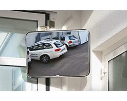 EUROKRAFT Miroir universel pour l'intérieur et l'extérieur - rectangulaire, support pour montage sur potelet