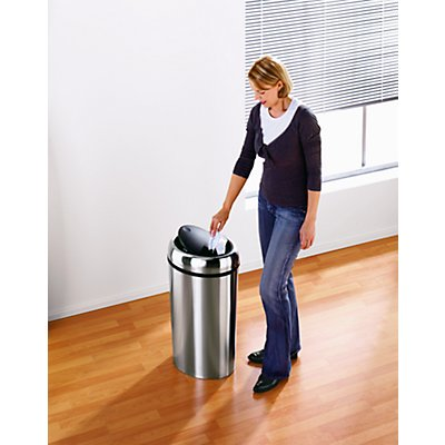 Collecteur de déchets en inox - SWING TOP ovale, capacité 40 l - hauteur 680 mm, Ø 400 mm