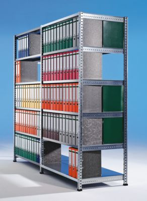 Ordner- und Archiv-Steckregal, verzinkt - Höhe 1920 mm, doppelseitig -