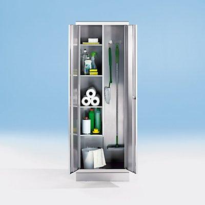Armoire en inox - armoire pour produits ménagers - 4 tablettes à gauche, 2 porte-balais à droite