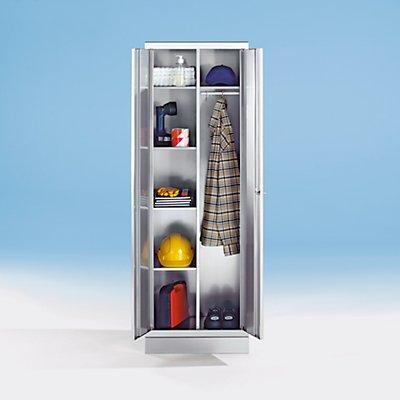 Armoire en inox - armoire à linge - 4 tablettes, 1 tablette supérieure, tringle avec 3 patères
