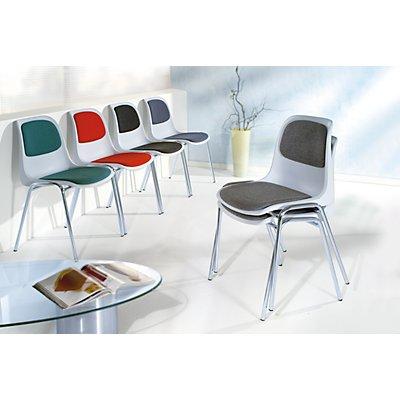 Kunststoff-Stapelstuhl mit Polster - Schale grau