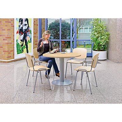Rocada Stapelstuhl, ergonomisch geformt - Buche / Gestell alufarben - VE 4 Stk