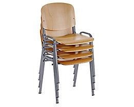 Stapelstuhl, ergonomisch geformt - Buche / Gestell alufarben
