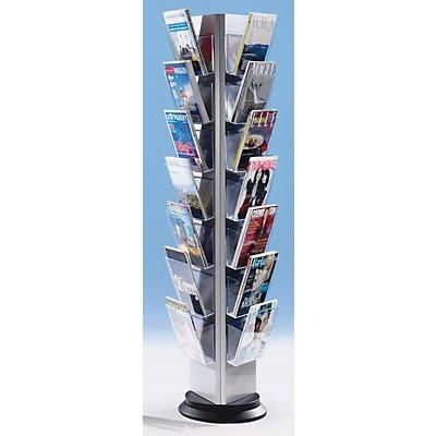Prospektständer aus Kunststoff für DIN A4 - Prospekthalter 3-seitig einhängbar, drehbar - 21 Prospektfächer