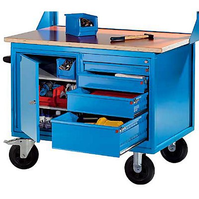 eurokraft montagewagen 1 schrank 1 schubladenschrank korpus und fronten lichtblau mdf. Black Bedroom Furniture Sets. Home Design Ideas