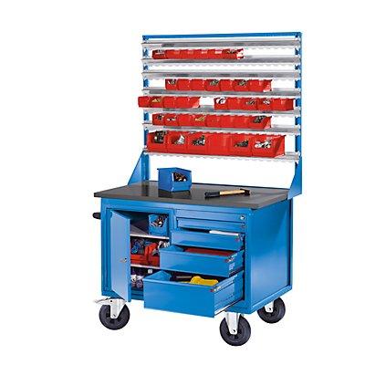 EUROKRAFT Montagewagen - 1 Schrank, 1 Schubladenschrank - Korpus und Fronten lichtblau, MDF-Arbeitsplatte