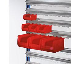 Sichtlagerkasten-Set, rot - für Aufhänge-Schiene - VE 67 Kästen in 3 Größen