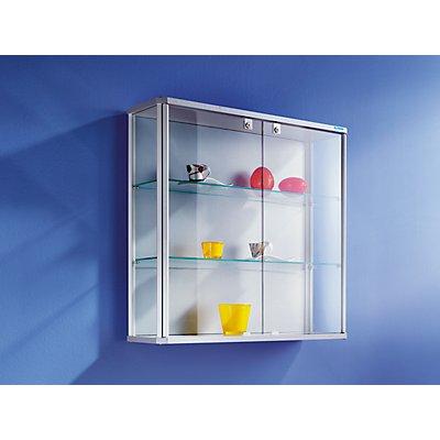 OFFICE AKKTIV Design-Wandvitrine - HxBxT 800 x 820 x 250 mm - mit NV-Beleuchtung
