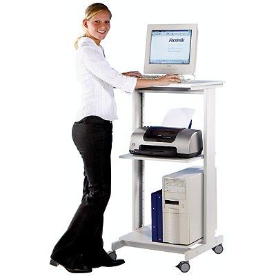 Twinco PC-Tisch - mit zwei Fachböden - HxBxT 1180 x 600 x 500 mm, lichtgrau RAL 7035