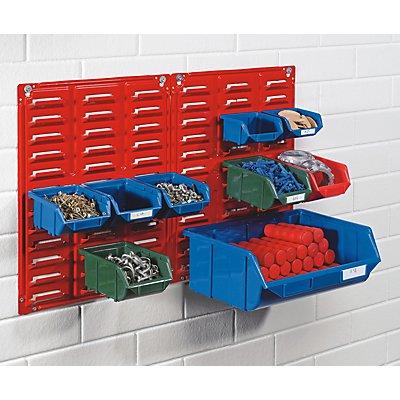 Wandpaneel aus Stahlblech - zum Einhängen von Sichtlagerkästen - rot, VE 5 Stk