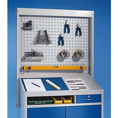Organisations-Aufsatz für Pultschrank - Lochwand-Aufsatz, HxBxT 780 x 915 x 30 mm