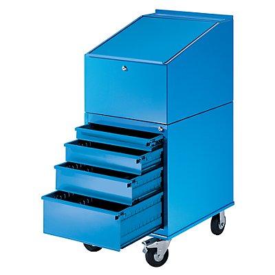 EUROKRAFT Rollpult - mit 4 Schubladen - Farbe lichtblau RAL 5012