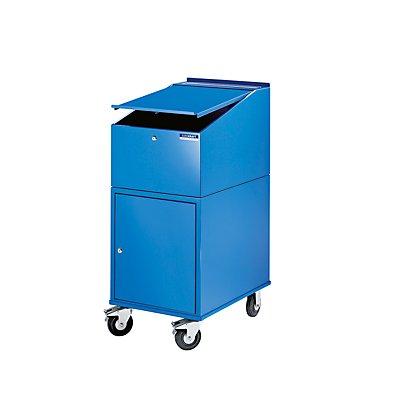 EUROKRAFT Rollpult - mit Schrank inkl. 2 Fachböden - Farbe lichtblau RAL 5012