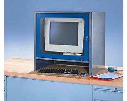 RAU Monitorgehäuse mit integriertem Aktivlüfter - HxBxT 710 x 710 x 550 mm - anthrazit-metallic / enzianblau