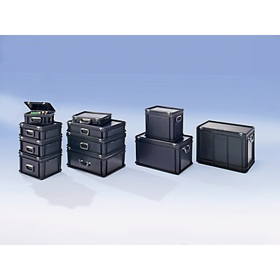 utz ESD-Kunststoffkoffer - Inhalt 6 l, Außenmaß LxBxH 400 x 300 x 80 mm