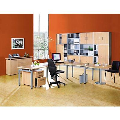 office akktiv STATUS Aufsatzschrank - 1 Fachboden, Schrank offen - alusilber / Buche-Dekor