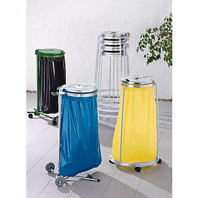 Abfallsackhalter für 120-l-Sack - 3-Bein-Fahrgestell, 4 Lenkrollen - Höhe 1010 mm