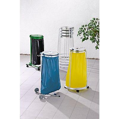 Support sacs-poubelle pour sac de 120 l - châssis roulant 3 pieds, 4 roulettes pivotantes - hauteur 1010 mm