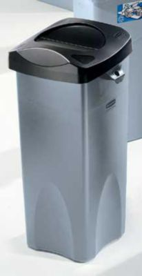 Rubbermaid Wertstoffsammler aus Kunststoff - Volumen 87 l, quadratisch - grau
