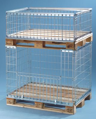 Gitter-Aufsatzrahmen für EUR-Tauschpalette - mit Klappe an 1 Längswand - Nutzhöhe 850 mm