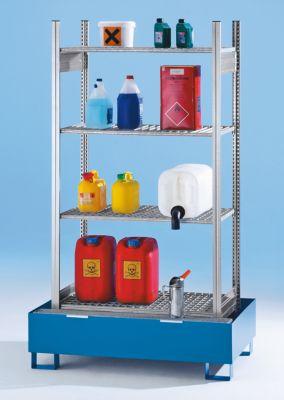 Kleingebinde-Gefahrstoffregal - mit 4 Gitterrost-Regalböden