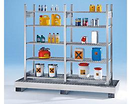 Kleingebinde-Gefahrstoffregal - mit 8 Gitterrost-Regalböden