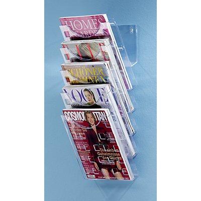 helit Wand-Prospekthalter A4 - transparent, 5 Fächer für Format DIN A4 - HxBxT 578 x 240 x 150 mm, VE 2 Stk