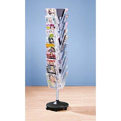 helit Bodenständer, drehbar und fahrbar - 30 Fächer für Format DIN A4 - HxBxT 1773 x 440 x 440 mm