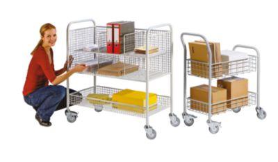 EUROKRAFT Büro- und Postwagen - Tragfähigkeit 200 kg, 2 Etagen - LxBxH 890 x 380 x 1010 mm, weißaluminium