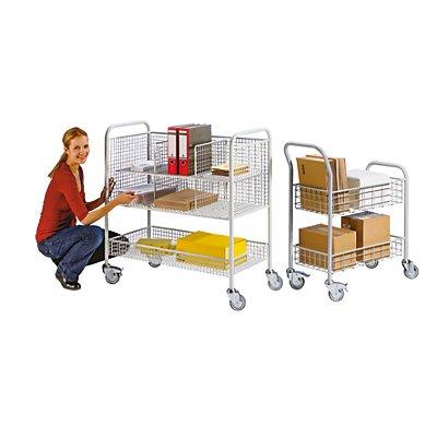 EUROKRAFT Büro- und Postwagen - Tragfähigkeit 200 kg, weißaluminium