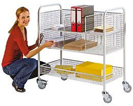EUROKRAFT Büro- und Postwagen - Tragfähigkeit 150 kg, 3 Etagen