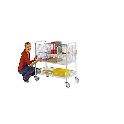 EUROKRAFT Büro- und Postwagen - Tragfähigkeit 150 kg, 3 Etagen - LxBxH 1055 x 500 x 1100 mm, lichtgrau