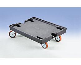 Chariot porte-bacs - avec 2 roulettes pivotantes et 2 fixes - L x l 800 x 600 mm, force 450 kg