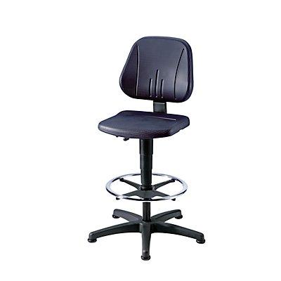 bimos Universal-Arbeitsdrehstuhl - mit Bodengleitern und Fußring - Sitzbezug PU-Schaum