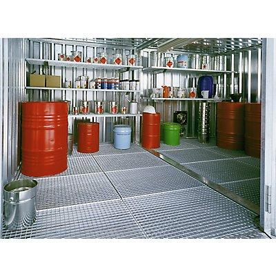 Gitterrostregal-Set, 3 Lagerebenen, an Containerwand vormontiert, verzinkt