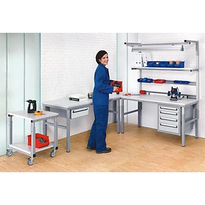 RAU Arbeitsplatz-System, höhenverstellbar von 650 – 1000 mm - Eckplatte mit Stützfuß