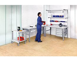 RAU Arbeitsplatz-System, höhenverstellbar von 650 – 1000 mm - Grundtisch mit Etagenbord - BxT 1200 x 700 mm