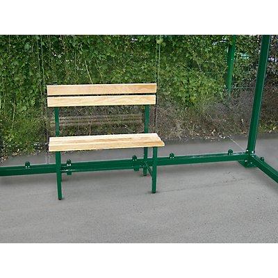 Sitzbank mit Holzauflage - Länge 900 mm für 2 Plätze - Rahmen im Farbton der Überdachung
