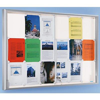 office akktiv Schaukasten, Alu-Rahmen, Schiebetüren - 12 x DIN A4, BxHxT 910 x 970 x 50 mm