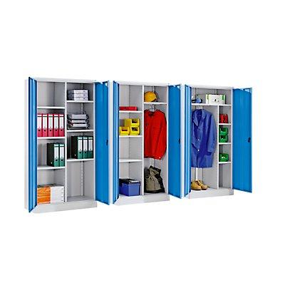 QUIPO Stahlschrank mit Sockel - 1 Garderobenleiste, 1 Ablageboden, 3 Fachböden