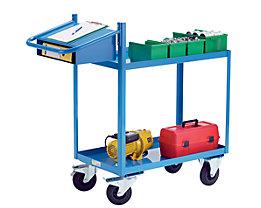 EUROKRAFT Montagehilfswagen, Tragfähigkeit 250 kg - mit Wannenböden, Schreibtafel und Einschubfach