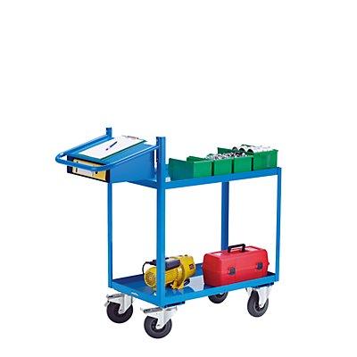 EUROKRAFT Montagehilfswagen, Tragfähigkeit 250 kg - mit Wannenböden, Schreibtafel und Einschubfach - Ladefläche LxB 900 x 500 mm, 2 Etagen