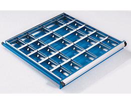 Schubladeneinteilungs-Set, 3 Längs- und 20 Querteiler, für Schubladenhöhe 100 mm für Schrankbreite x -tiefe 564 x 572 mm